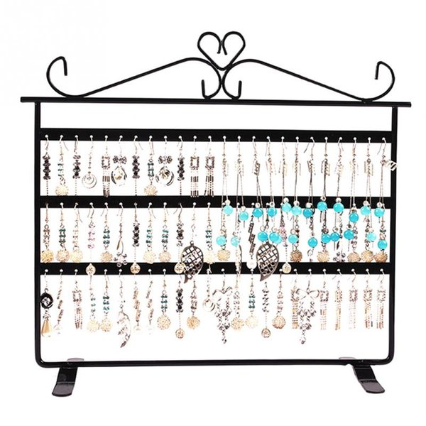 Multifunctional Metal Necklace Chain Bracelet Rotation Holder Jewelry Display Stand Rack Hanger Fashionable 72 Holes Display