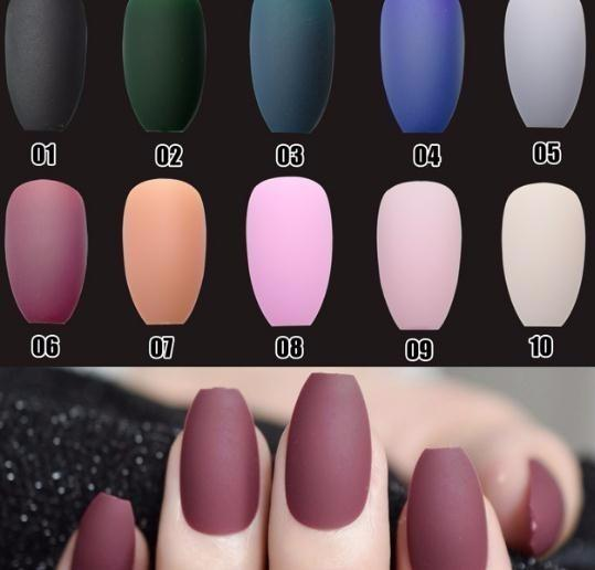 top popular Coffin Fake Nails Matte Red Wine Frosted Press On Coloured Pink Black Wholesale False 2019 Many Colors 2021