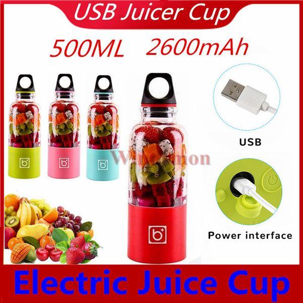 Rechargeable Portable Blender Electric Mini Mixer Juicer Cup USB Smoothie Blender Baby Food Maker Grinder Blender Fruit Mixer 500mAH