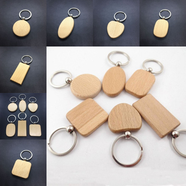 Free DHL 2019 DIY Wood Keychain Handmade Wooden Round Square Heart Key Pendant Handmade Hot Sale Heart DIY Alloy Key Holder G199F Y