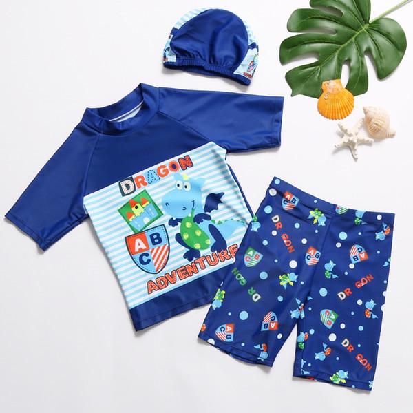 maillot de bain garçon garçon deux pièces et bonnet de bain chemise à manches courtes et malles kinder enfants bleu plage vêtements maillots de bain 2018
