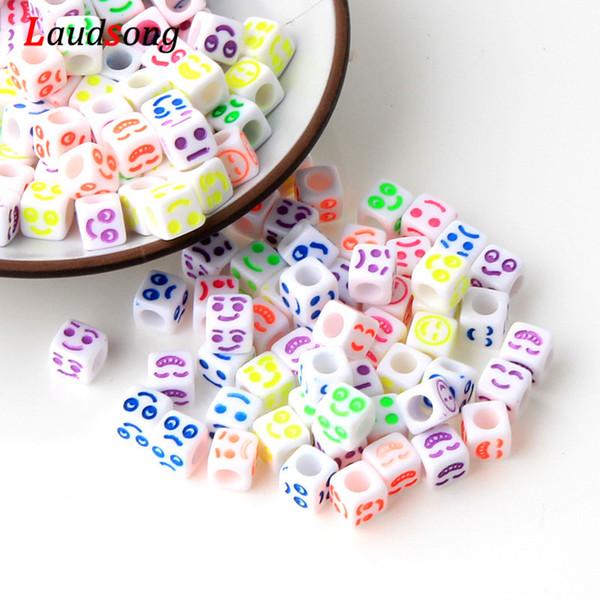 Günstige 200 Stücke Mischfarbe Emotionale ausdrücke Acryl spacer für hand perlen für schmuck machen 6mm kralen