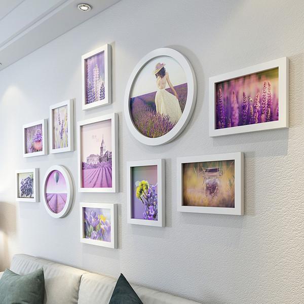 11pcs/set Modern White Wedding Love Home Decoration Wooden Picture Frames Best Gift Wall Photo Frame Set C19041701
