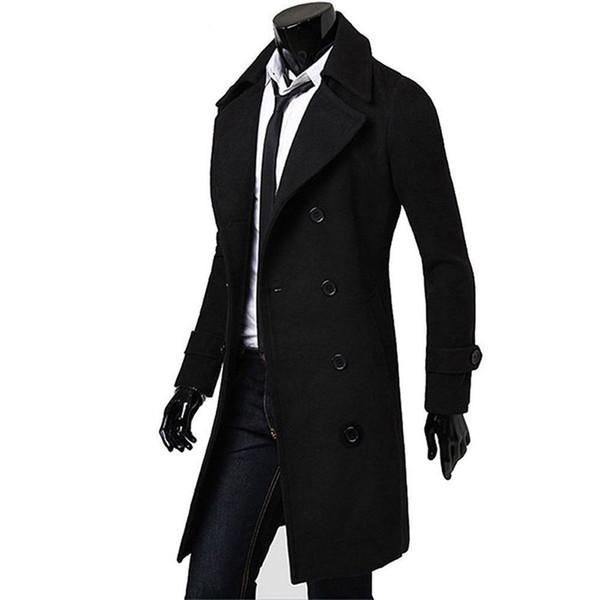 Мужчины зима двубортный тренч пальто зима теплая длинная куртка ветровка твердые пальто верхняя одежда