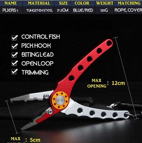Multi-function Aluminum Fishing Pliers Braid 170*60mm Cutter Hook Remover Tackle Tool with Pouch Rope Carp Fishing Tools