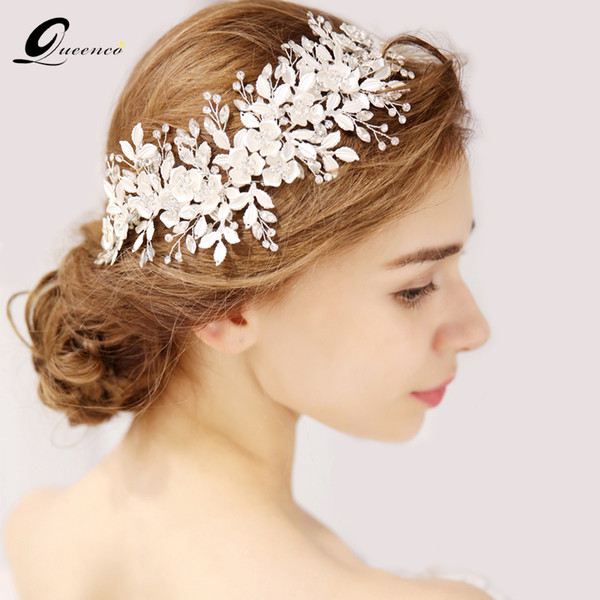 Queenco Silver Floral Bridal Headpiece Tiara Wedding Hair Accessories Hair Vine Handmade Headband Hair Jewelry For Bride Y19051302