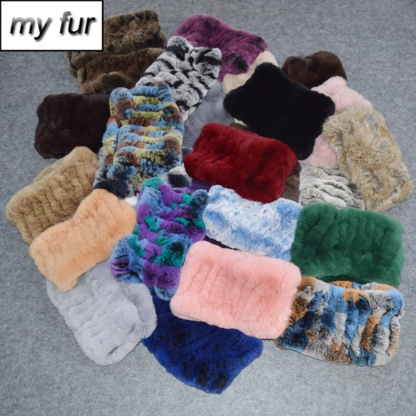 2019 Hot Sale Women Real Fur Ring Scarf Knit Genuine Rex Fur Headbands Elastic Warm Soft Natural Rex Scarves