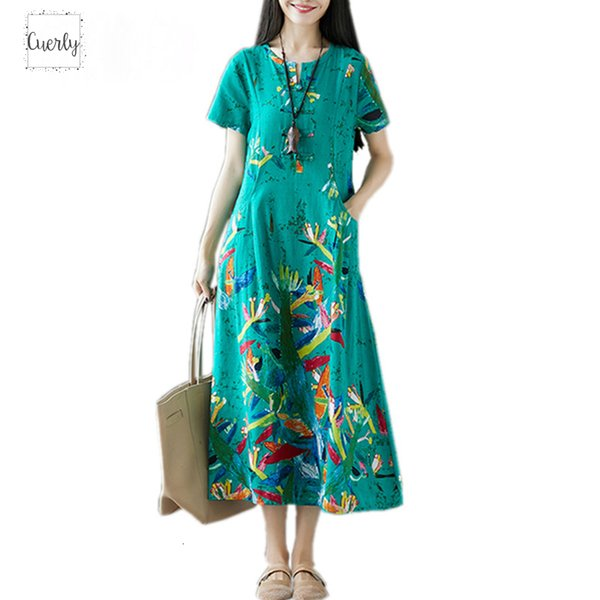 Ropa de verano más el tamaño de vestido floral ocasional de las mujeres largas flojas ropa elegante Vestidos 2019 señoras de los vestidos Vestido de tirantes de la vendimia