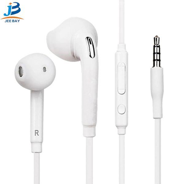 S6 S7 Kulaklık Kulaklık J5 Kulaklık Kulakiçi iPhon 6 6 s Jack için Mic ile Kulak Kablolu Kulaklık Ses Kontrolü 3.5mm Beyaz