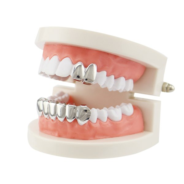 Dental Grills Non-mainstream Jewelry Creative New Bright Gold-plated Vertical Hip-hop Gold Braces Single-tooth Christmas Decoration Props