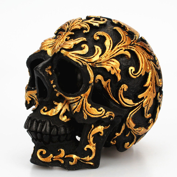 Mini Gold Pattern Day of The Dead Themed Skull Statue Figurine Vintage Resin Gold Pattern Skull Ornaments Figurines Halloween Skull Miniatur