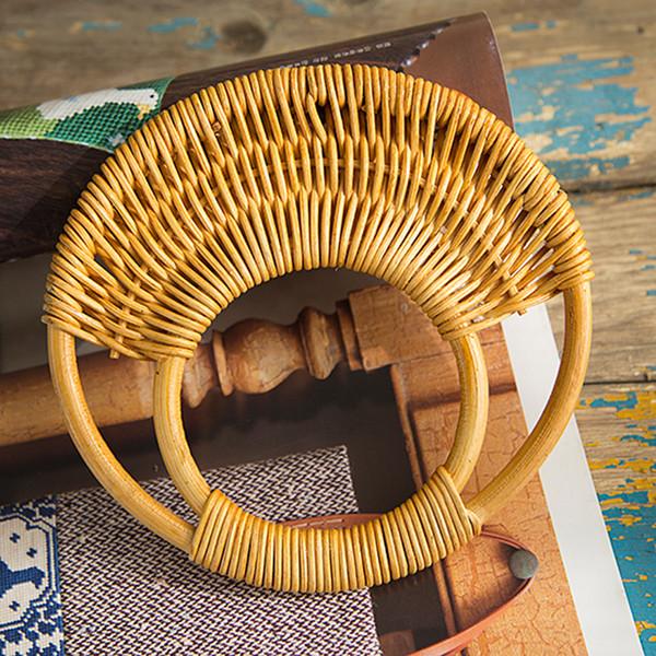 handles Round Rattan 2017 Purse Handle DIY Hanger Wooden Bamboo Plastic Purse Frame Fashion Strap Cane Straw Bag Handle