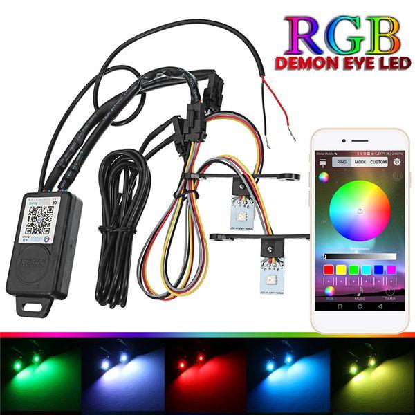 Phares de voiture Retrofit RGB Demon Eye Halo Anneau Lampe Ampoule LED Kit Lumière Courant Bluetooth APP Contrôle Halo Anneau Lampe module