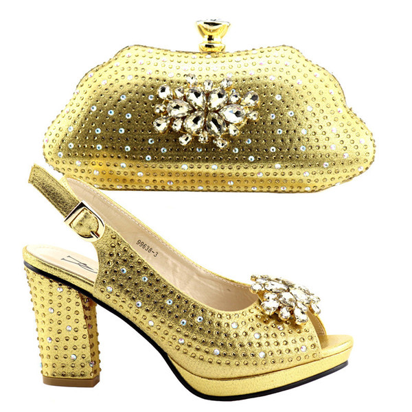 2019 New Italian Shoe and Bag Set for Wedding African Women Italian Shoes and Bag Set Elegant Women Party Shoes with Bag Sets
