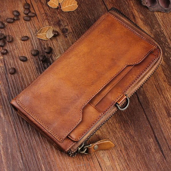 Handmade Genuine Leather Men Wallet Clutch Phone Bag Cow Leather Vintage Purse Coins Card Holder Long Male Wallets Zipper Wallet