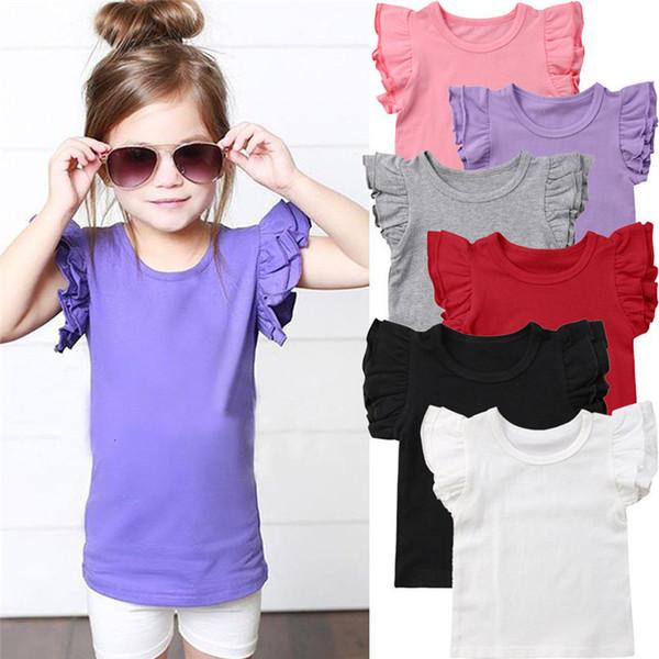 New 2019 Sommer-Kleinkind-Kind-Mädchen Rüschen Kurzarm Baumwolle T-Tops Süßigkeit-Farben-Kind-Mädchen-T-Shirt Kleidung 0-6 Jahre