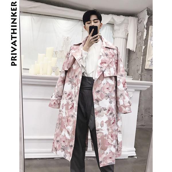 Floral Trench Coat Designer Hommes 2018 Hommes Coupe-Vent Longue Veste Manteau Mâle Korean Fashions Automne Outwear Vêtements