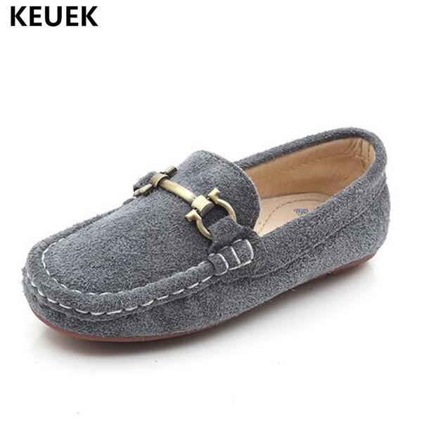 Yeni İngiliz tarzı Nubuk Deri Çocuk Ayakkabı Loafer'lar Erkek Kız Hakiki Deri Ayakkabı Çocuklar Düz Bebek Gündelik Elbise 041