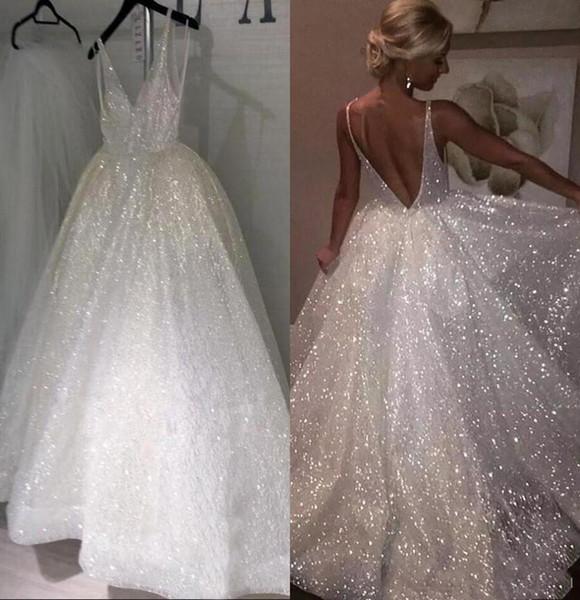 Faísca lantejoulas branco vestidos longos de casamento 2019 decote em V profundo Sexy Low Back Vestidos de Noiva Pageant Barato Ocasião Especial Vestidos Para Casamentos