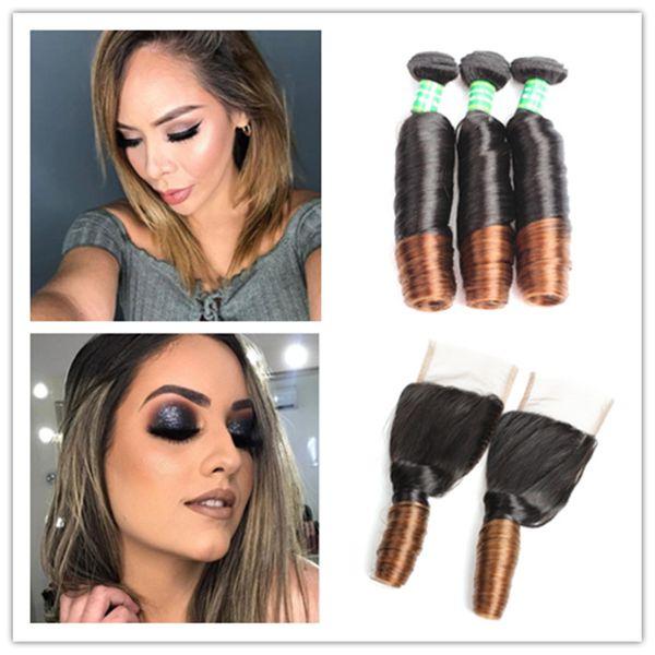 9A Ombre Spring Curly 3Pcs/lot Aunty Funmi Hair Brazilian Virgin Hair Extension Unprocessed Brazilian Hair Weave Bundles J93