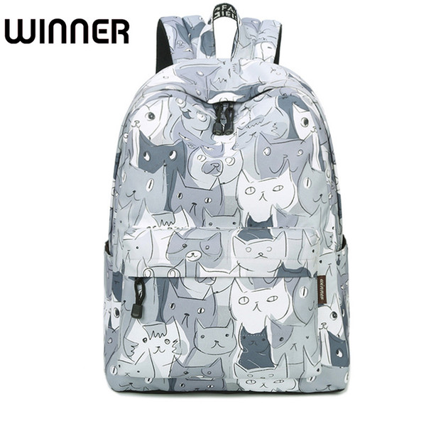 Cute Cat Animal Printing Zaini Donna 15.6 pollici Laptop Bagpack impermeabile Canvas Book bag Borsa da scuola per adolescenti