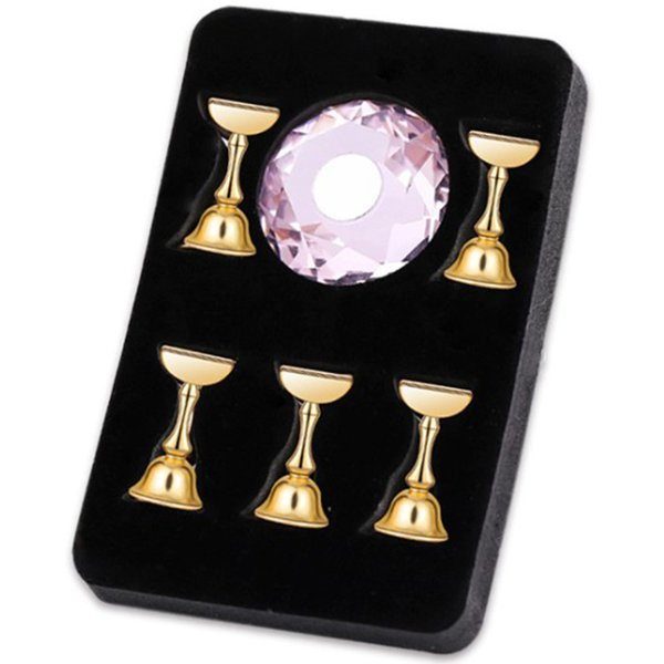Prego de cristal Exibição Da Arte Mostrando Prateleira Titular Prego Magnético Falso Dica Prática Stand Titular Base de Liga Manicure Para