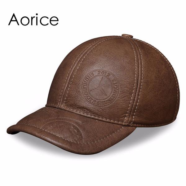 HL131 cuero de vaca genuino gorra de béisbol sombrero para hombre nuevo estilo de invierno cálido gorros gruesos sombreros hombre enemigo un tamaño