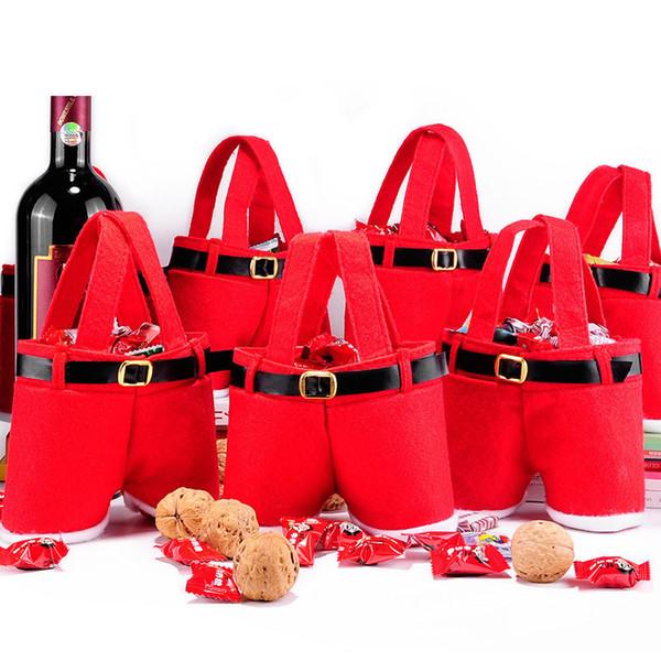Frohe Weihnachten Geschenktüte Rotweinflasche Tasche Niedlichen Candy Pouch Red Santa Hosen Geschenktüten für Weihnachten Hochzeit Neujahr HH7-1887
