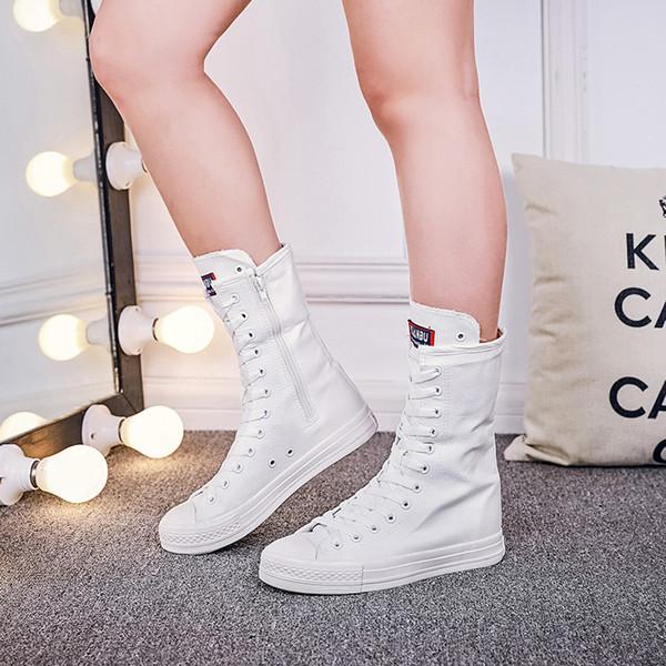 Büyük Boy 34-43 Kadın Dantel-up Tuval Orta Buzağı Çizmeler Düz Topuk Bayan Rahat Ayakkabılar Yüksek top çizmeler flats fermuar kanvas ayakkabılar MA-77