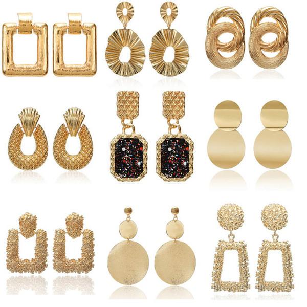 2019 Vintage boucles d'oreilles grandes pour les femmes déclaration boucles d'oreilles géométrique couleur doré pendentif en métal boucles d'oreilles tendance bijoux de mode