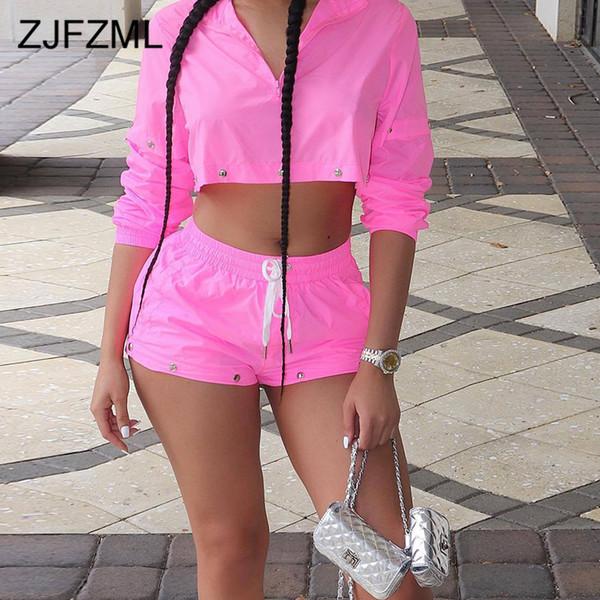 Néon Rose Sexy 2 Piece Set Survêtement Femmes Avant Zipper Manches Longues Crop Top Et Drswstring Survêtements Court Tenues De Club D'été