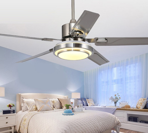 top popular Stainless steel ceiling fan lamp 5 Blade indoor ceiling fan lamp with remote control Brush Nickel ceiling fan 48 52 inch LLFA 2021