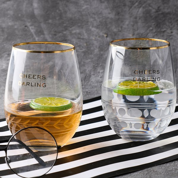 Fashion gift set gold rim tumbler mousse cold drink milk wine glasses egg-shaped custom stemless glass cup