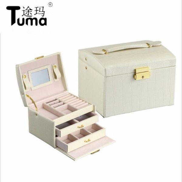 Prenses tarzı Mücevher Kutusu Deri Mücevher Kutusu Kozmetik Kutusu Mücevher Durumda Lüks Takı Organizatör Doğum Günü Hediyesi Düğün Hediyesi
