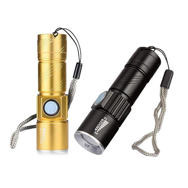 Zumlanabilir led Q5 Fener meşale Flaş Işık yürüyüş kamp taşınabilir mini Lamba USB şarj 18650 pil fenerleri meşaleler MMA2067-1
