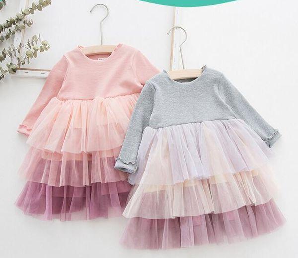NOUVEAU Vêtements fille Robes Boutique Enfants 3 Couches Maille Robe Patchwork Fille Élégante Sring Automne Robe À Manches Longues
