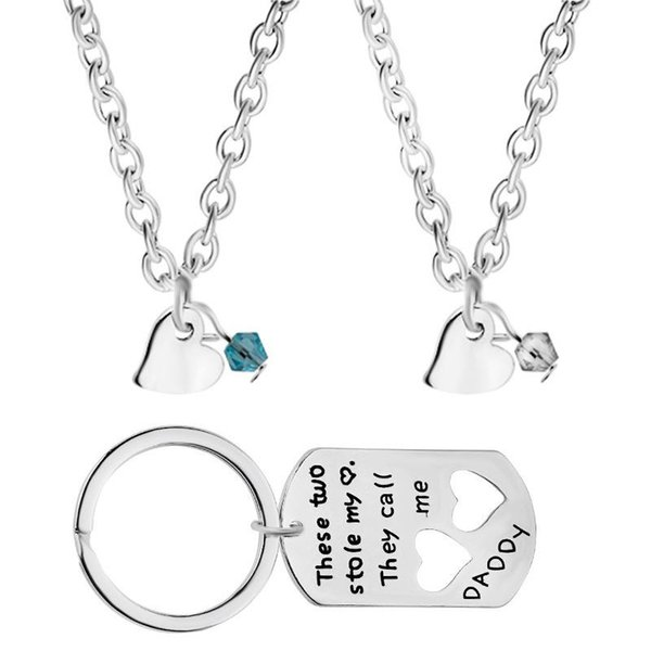 These Two Stole My Heart They Call Me Daddy dad and 2 childrens 3pcs/set children's necklaces daddy's keychain Father's Day gift