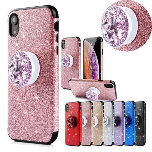 Luxury Glitter Sparkle Sticker Thin Shockproof Hybrid diamond Holder Soft TPU Matte Phone Case Cover For Apple iPhone 6 7 8 Plus X XS Max XR