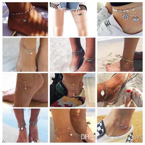 Vintage Antique Silver Color Anklet Women Big Blue Stone Beads Bohemian Ankle Bracelet cheville Boho Foot Jewelry 20 styles ALXY