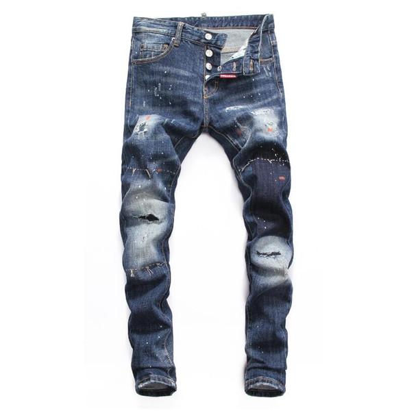 D2019 Alta qualidade da moda New Style Marca Denim Jean Bordados Calças Dos Homens Buracos Dos Homens calças lápis Bull-perfurador calça