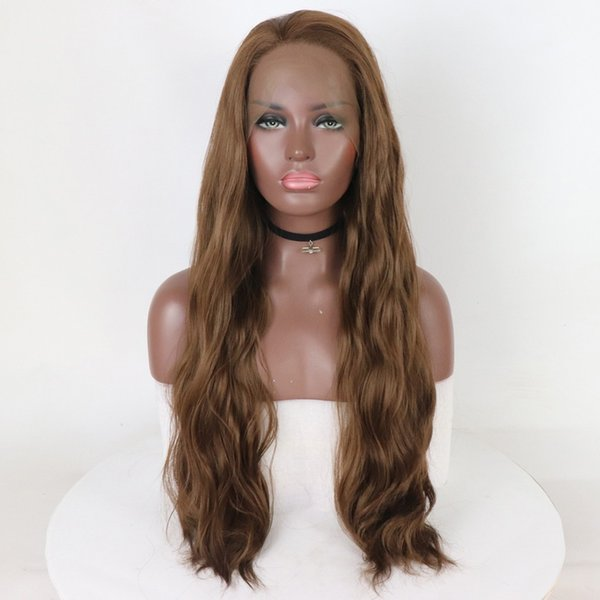 Peluca de onda larga Cabello castaño para mujer Peluca de fibra sintética resistente al calor, con pelos oscuros de aspecto natural