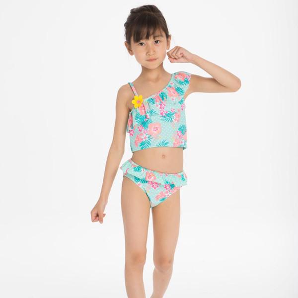 Sexy One Shoulder Girls Swimwear Kids 2019 Flower Print Two Piece Swimsuit Summer Ruffle Children Bathing Suit Split Bikinis