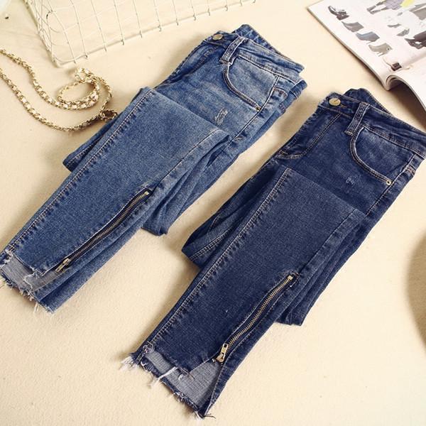 2019 Spring Summer Skinny Jeans Woman Vintage Zipper Irregular High Waist Jeans Pantalon Femme Pencil Pants Women Jeans C4191 C19041001