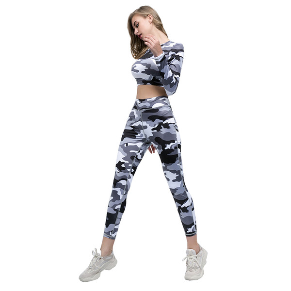 Women Tracksuit Camouflage Print Yoga Set Running Fitness Jogging T-shirt Leggings Sports Suit Gym Sportswear Workout Clothes