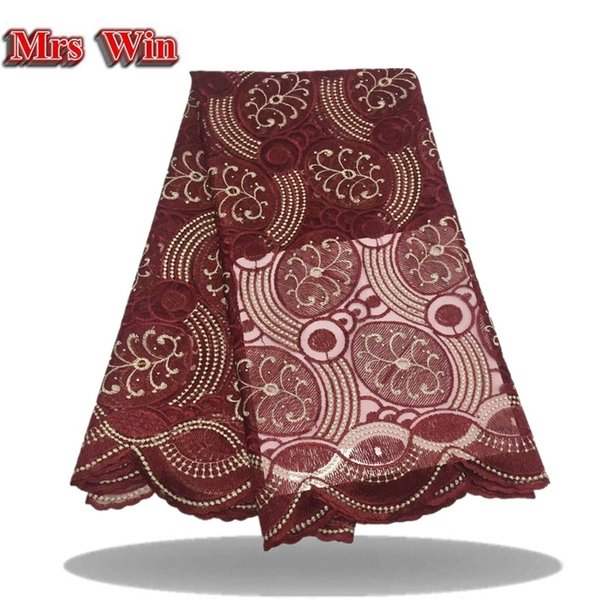 Newly arrived 5 yd/bag high quality laser-cut African lace fabric pure red party dress lace fabric with cutting laser