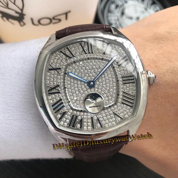 Brand New Drive WSNM0008 43mm Stahlgehäuse Diamond Dial Big Roma Automatische Mondphase Quadrat Herrenuhr Schwarz Lederband Luxus Uhren