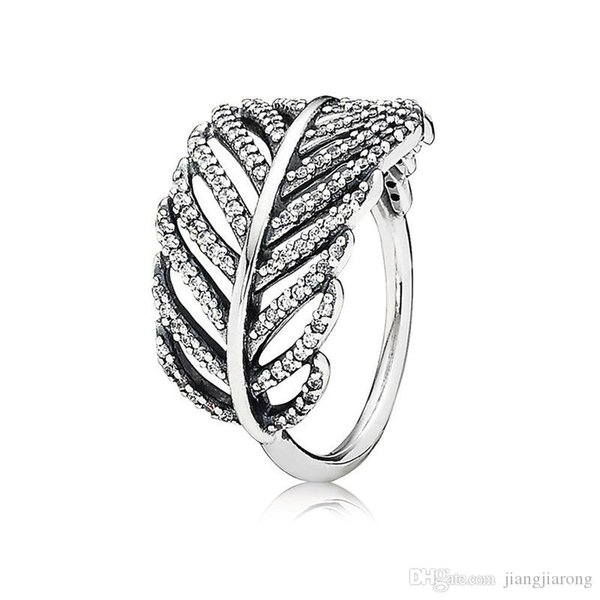 ZR142 Shimmering feather Ring ring women man size 6-9 big brand 925s silver ring Diamond top quality hot sell single lover Christmas gift