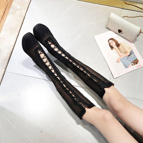 Women Mesh Knee High Boots Polka Dot Cross Tie Square Toe Lace Up Low Heels Ladies Botas 2019 Fashion New Autumn Casual Shoes