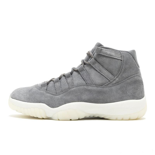 Mens Basketball Shoes Concord 11s Zapatos Sneakers Concord 45 Platinum Tint Space Jam Gym Designer Sneakers Grey Suede Mens Trainers