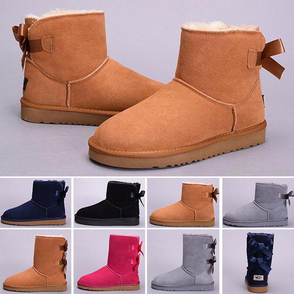 Klassische Designer Mädchen Frauen WGG Stiefel Leder Warme Winterstiefel Chestnut Schwarz Navy Blau Grown Pink Australia Outdoor Ankle Snow Boots